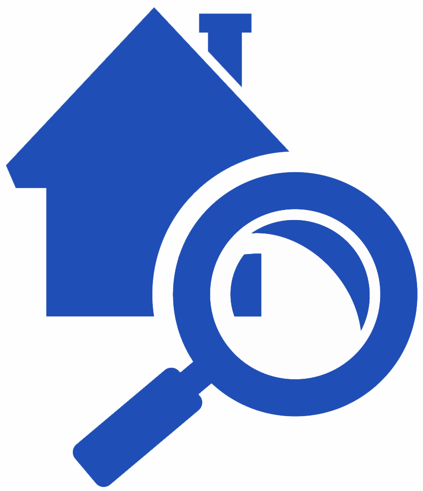 Icon of a magnifying glass in front of a house symbolizing home inspection services