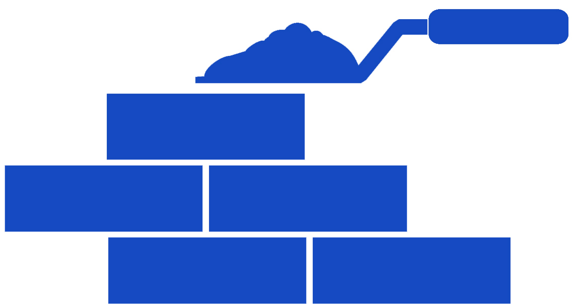 Icon of a brick wall being built