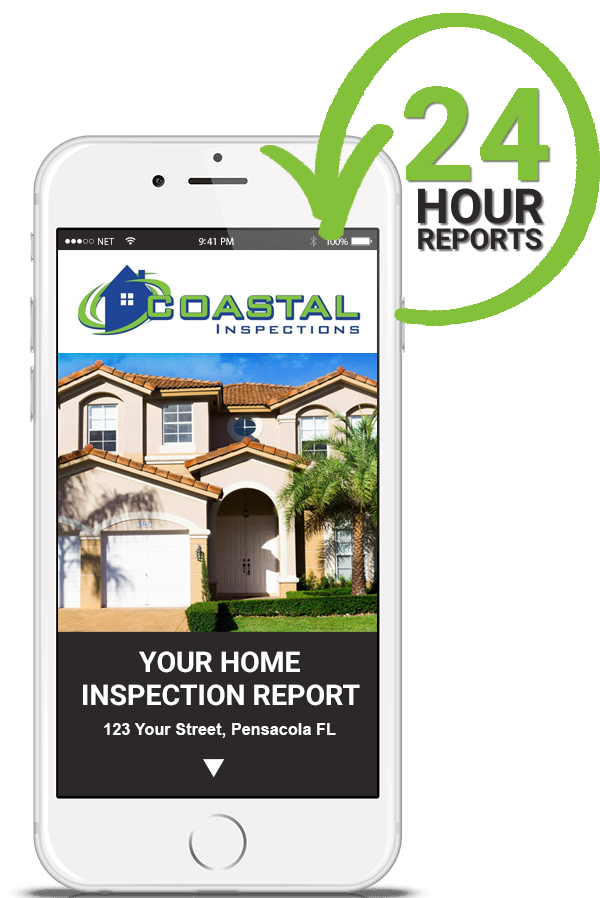 Smartphone showing a digital home inspection report by Coastal Inspections