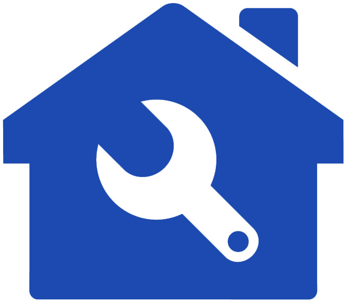 Icon of a maintenance tool in front of a house seen while home inspection services are being preformed